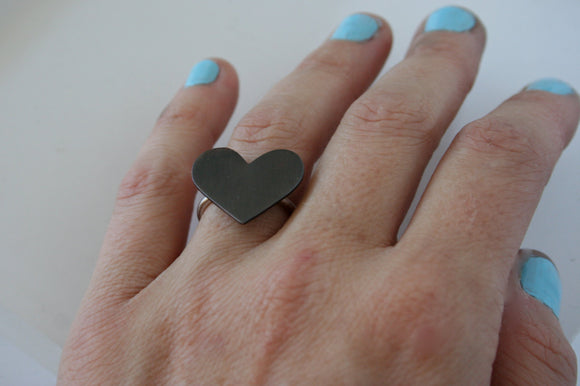 Ready to Ship in Black, Black Heart Ring, Giant Heart Ring, Statement Ring, Silver RIng, Mixed Metal, Handmade Ring Black Heart