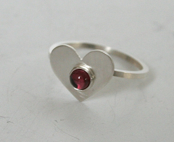 Garnet Ring, January Birthstone, Heart Ring, Valentines Ring, Valentines Gift for Her, Rhodolite Garnet Ring, Sterling Silver Heart Jewlery