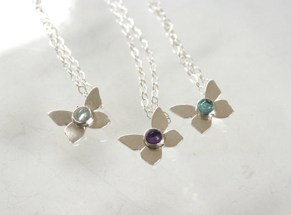 Sterling Silver, Butterfly Necklace, Amethyst Necklace, Apatite Necklace, Aquamarine Necklace, Bridesmaid Necklace Set, Set of Three