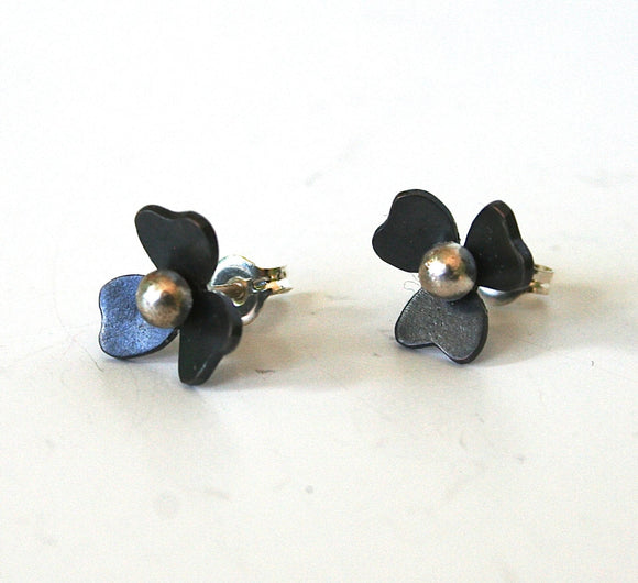 Black Flower Post Earrings, TIny Flower Earrings, Violet Earrings, Pansy Earrings, Violet Flower, Black Jewelry, Gift for Her, Silver Posts