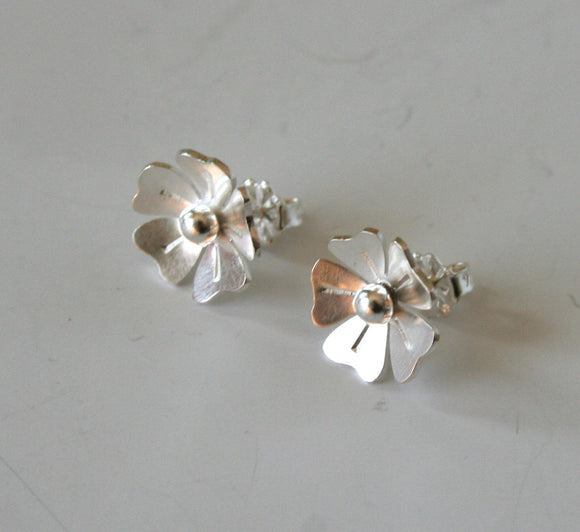 Silver Flower Earrings, Silver Bridal Earrings, Silver Rose Earrings, Rose Stud Earrings, Silver Stud Earrings, Bridesmaid Earrings, Flowers