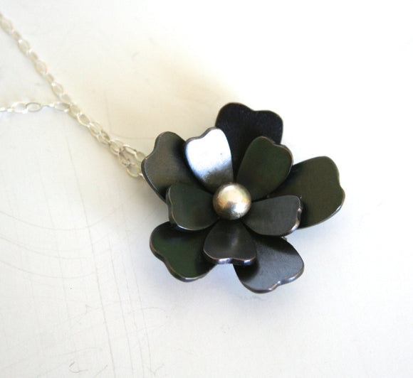 Pretty Black Flower Necklace, Flower Necklace, Black Flower, Silver and Black , Statement Necklace,  Metalwork, Patina,
