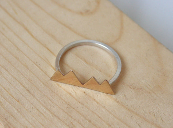 Mountain Ring, Rocky Mountains, Colorado Mountain, Minimal Ring, Jagged Ring, Silver Ring, Brass Ring, Mountain Jewelry, Stylized Mountains