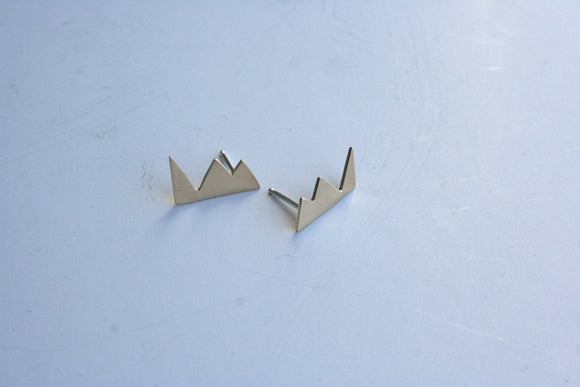 Mountain Earrings, Geometric Earrings, Jagged Shape, Pointy Earrings, Triangle Earrings, Stud Earrings, Brass Earrings, Sterling Posts