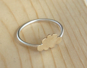 Little Gold Cloud Ring, Cloud Jewelry, Silver Ring, Cloud, Minimal Ring, Cute Ring, Small Jewelry, Minimalist, Silver and Gold, Brass