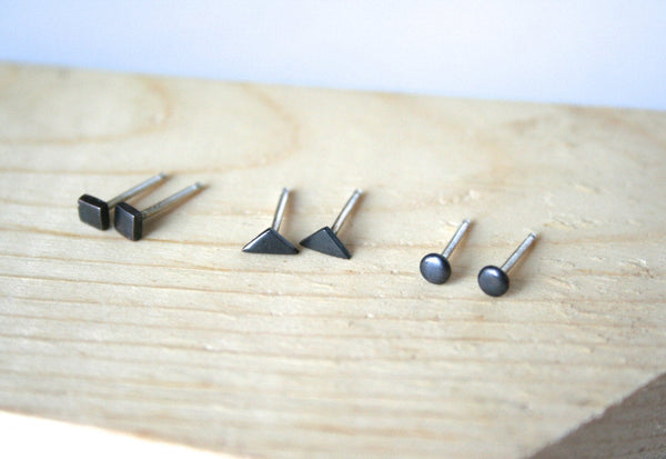 Geometric Earrings Set, Three Pairs, Black Earrings, Stud Earrings, Dot Earrings, Triangle Jewelry, Square Earrings, Black Jewelry, Minimal