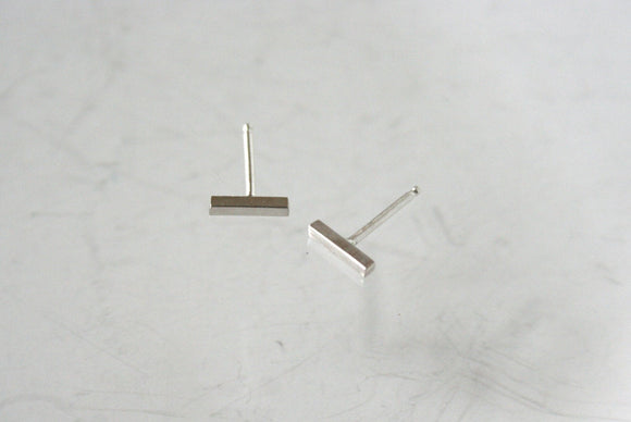 Silver Stud Earrings, Stick Earrings, Square Earrings, Bar Earrings, Everyday Earrings, Sterling Silver Posts, Minimal Earrings, Modern