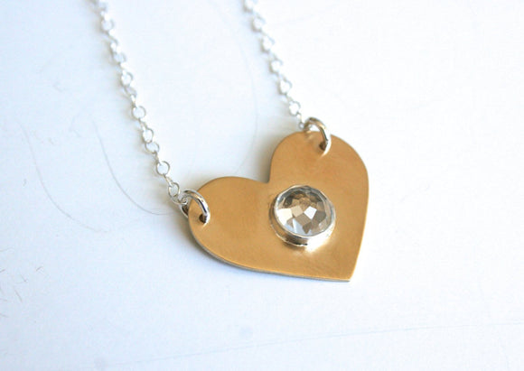 White Topaz Necklace, Gold Heart Necklace, Gift for Her, Mother day Necklace, Silver and Gold, Faceted Stone, Brass Necklace, Pretty Jewelry