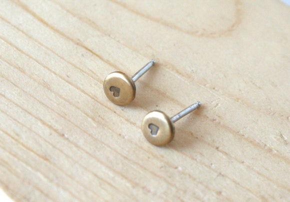 Antiqued Brass Earrings, Brass Dot Earrings, Heart Earrings, Tiny Earrings, 4mm Dots, Stamped Earrings, Stud Earrings, Dot Earrings, Brass
