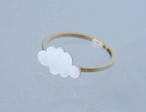 Silver and Gold Cloud Ring, Cloud Ring, Silver Ring, Cloud Jewelry, Brass Ring, Modern Ring, Modern Jewelry, Mixed Metal, Minimal Style