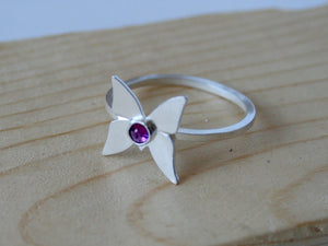 Sterling Silver and Amethyst  Butterfly Ring