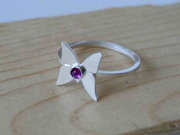 Amethyst Ring, Silver Ring, Butterfly Ring, Silver Butterfly Ring, Handmade Ring, Metalwork, February Birthday, Sterling Silver Ring, 925