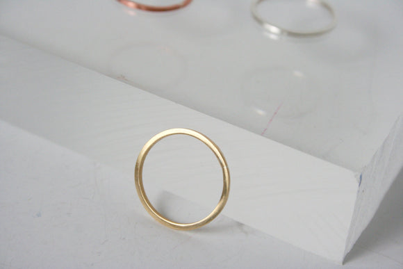 Simple Brass Stacking Ring, Single Stacking Ring, Brass Ring, Square Ring, Set of Rings, Set of Three, Gold Colored Ring, Modern Ring