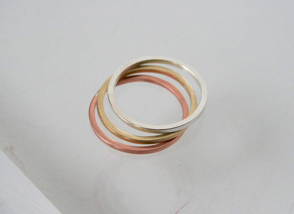 Stackable Rings, Set of three, Single Ring, Silver Ring, Copper Ring, Multi-colored Ring, Sterling Silver Stacking Ring Set, Modern Rings