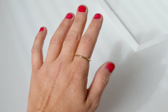Brass Ring, Stacking Ring, Single Stacking Ring, Hammered Ring, Gold Color Ring, Gold Ring, Band, Metal Band, Textured Ring