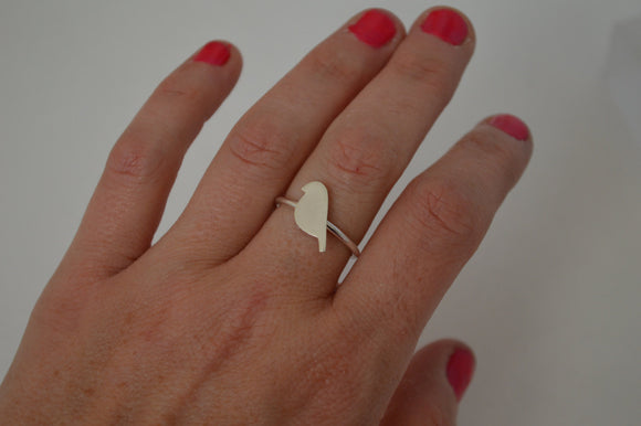 Minimal Silver Bird Ring, Sterling Silver, Minimalist Jewelry, Stacking Ring, Stackable Ring, Ring for Girl, Sparrow, Robin, Silhouette