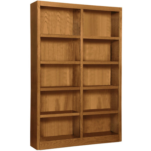 A. Joffe 10-Shelf Double Wide Bookcase, Dry Oak