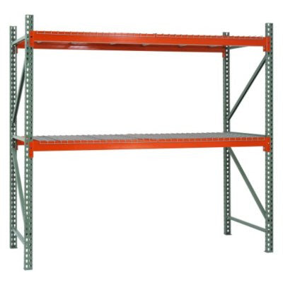 2-Shelf Steel Pallet Rack Starter Kit in Green/Orange