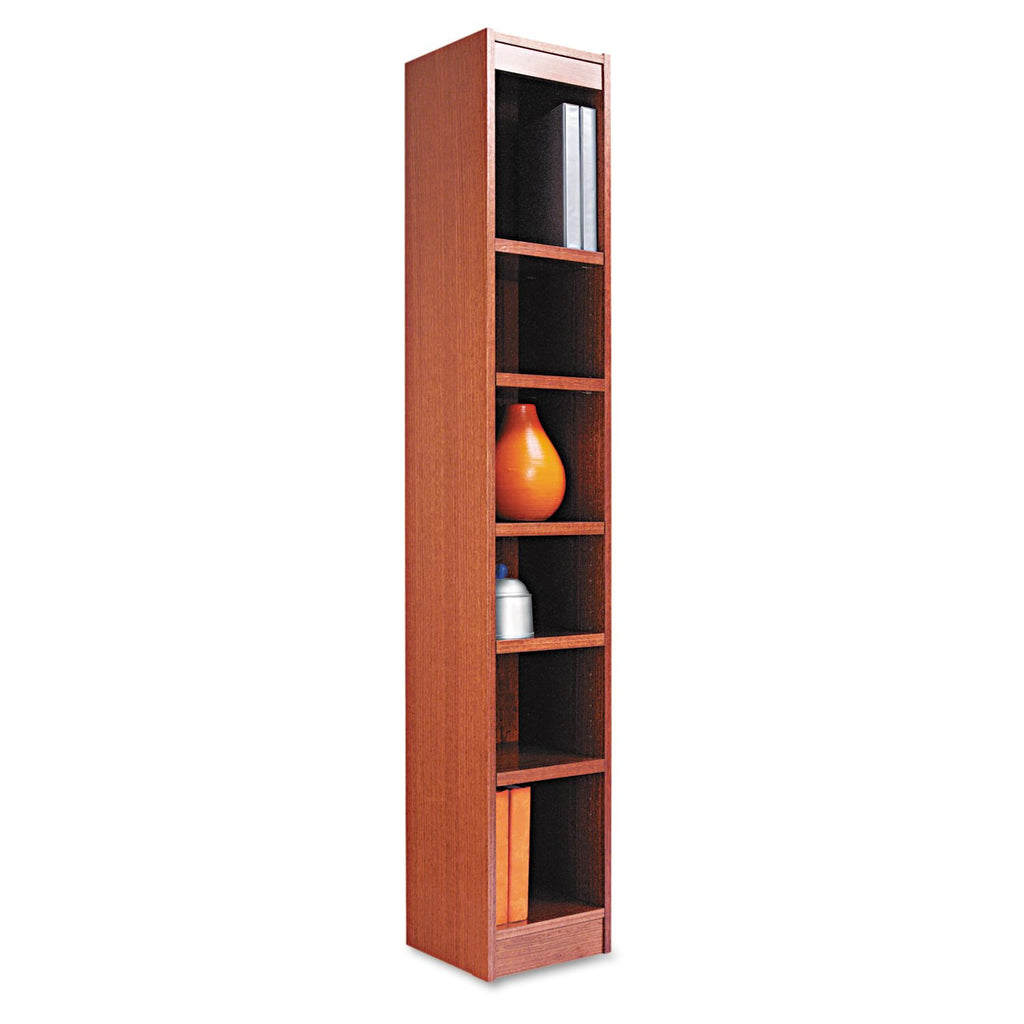 "Alera 72"" 6-Shelf Narrow Profile Bookcase, Medium Oak"