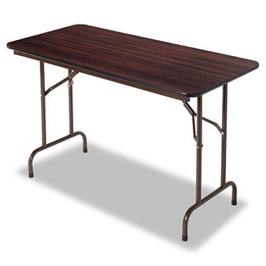 Alera 4' Melamine Folding Table, Walnut