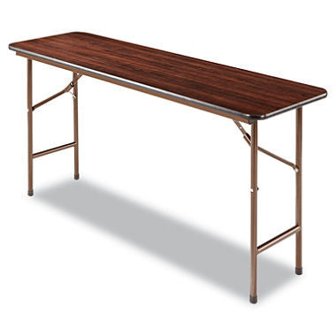 "Alera 60"" x 18"" Melamine Folding Table, Walnut"