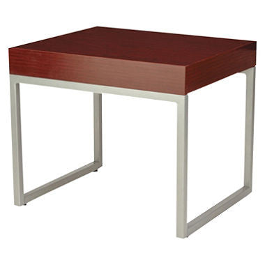 Alera Occasional End Table, Mahogany/Silver
