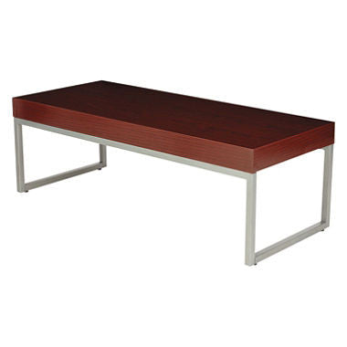 Alera Occasional Coffee Table, Mahogany/Silver