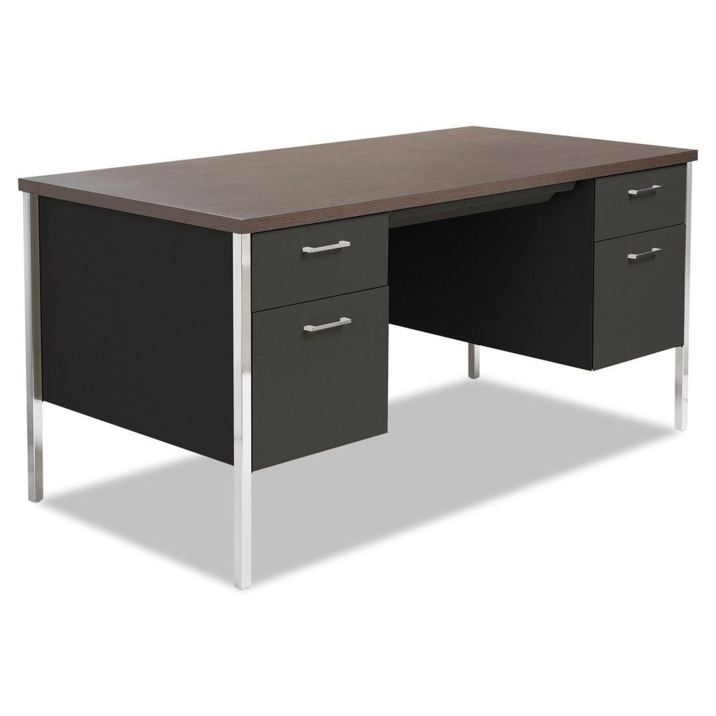 "Alera 60"" Double Pedestal Metal Desk, Walnut"