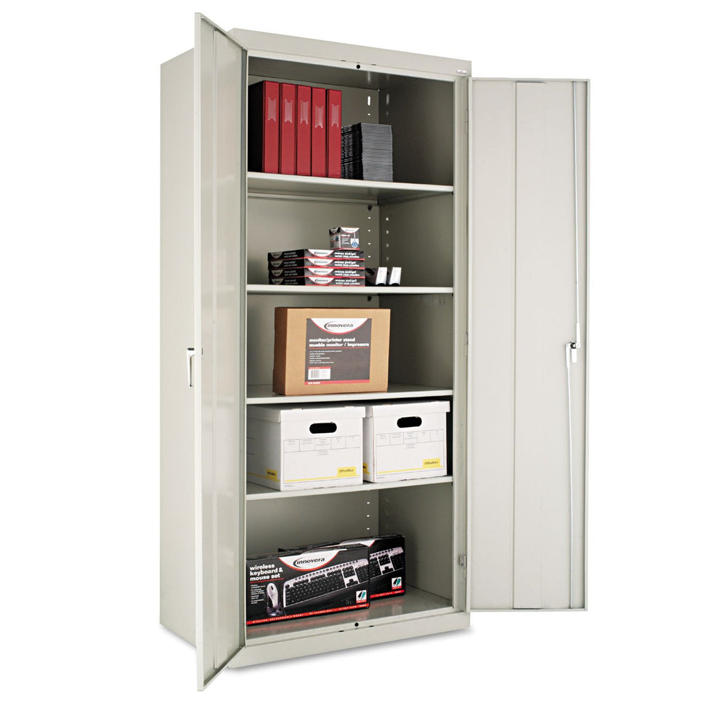 "Alera 78"" x 24"" Assembled Welded Storage Cabinet, Light Gray"