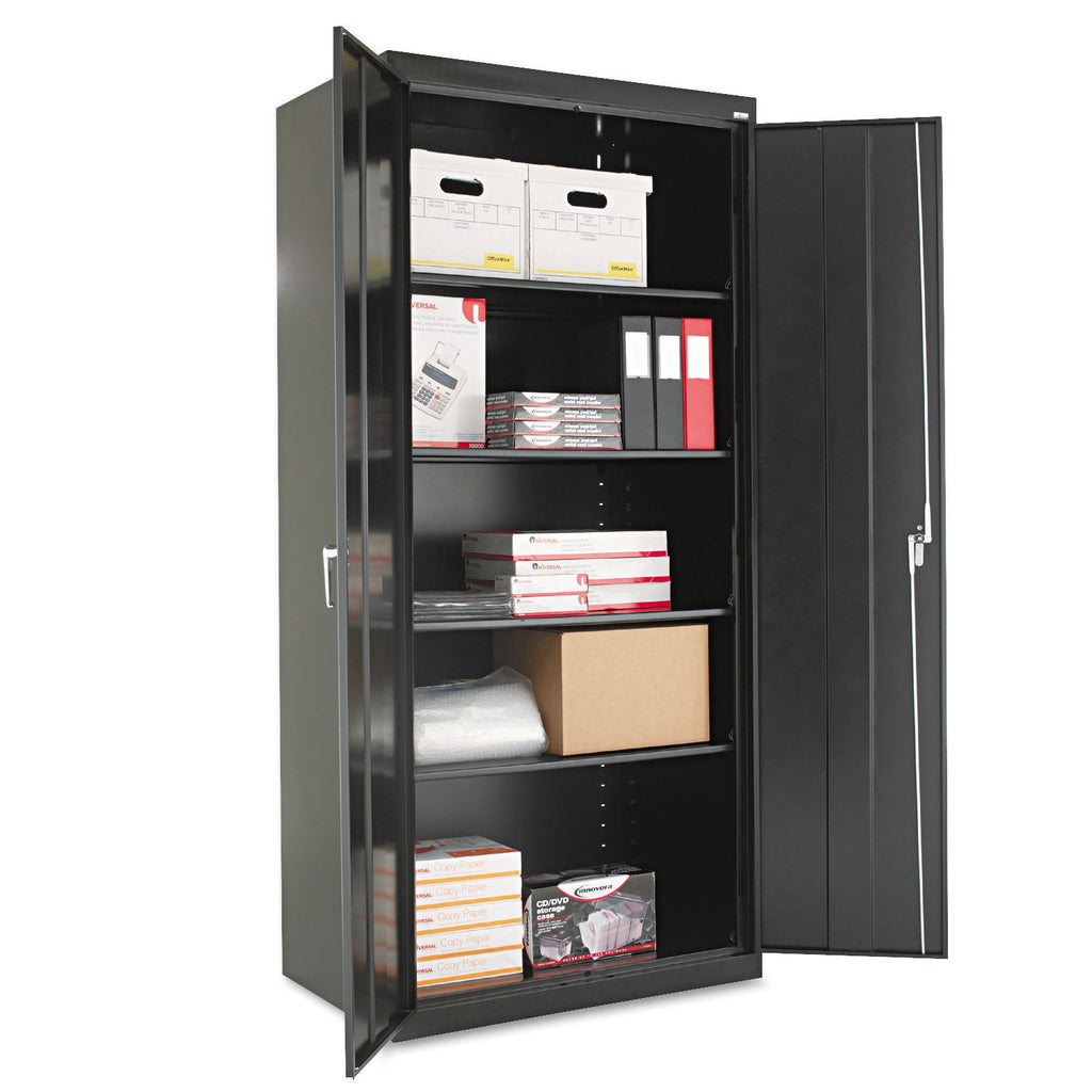"Alera 78"" x 24"" Assembled Welded Storage Cabinet, Black"