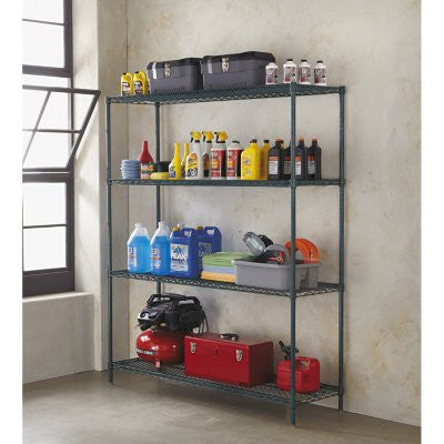 "Alera 60"" x 18"" 4-Shelf All-Purpose Wire Shelving Starter Kit, Green"