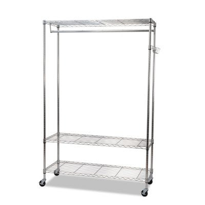 Alera 3-Shelf Wire Garment and Coat Rack with Casters, Silver (4 Hooks)