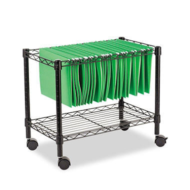 "Alera 24"" Single-Tier Rolling File Cart, Black"