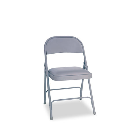 Alera Steel Folding Chair with Padded Seat, Light Gray - 4 Pack
