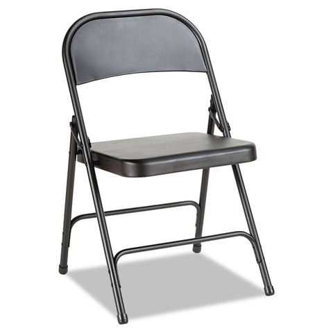 Alera Steel Folding Chair, Graphite - 4 pack