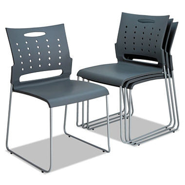 Alera Continental Series Perforated Back Stacking Chairs, Charcoal Gray - 4 pack