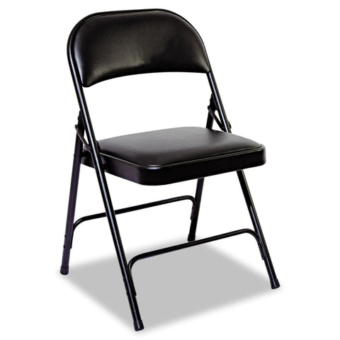 Alera Steel Folding Chair with Padded Back and Seat, Graphite - 4 pack