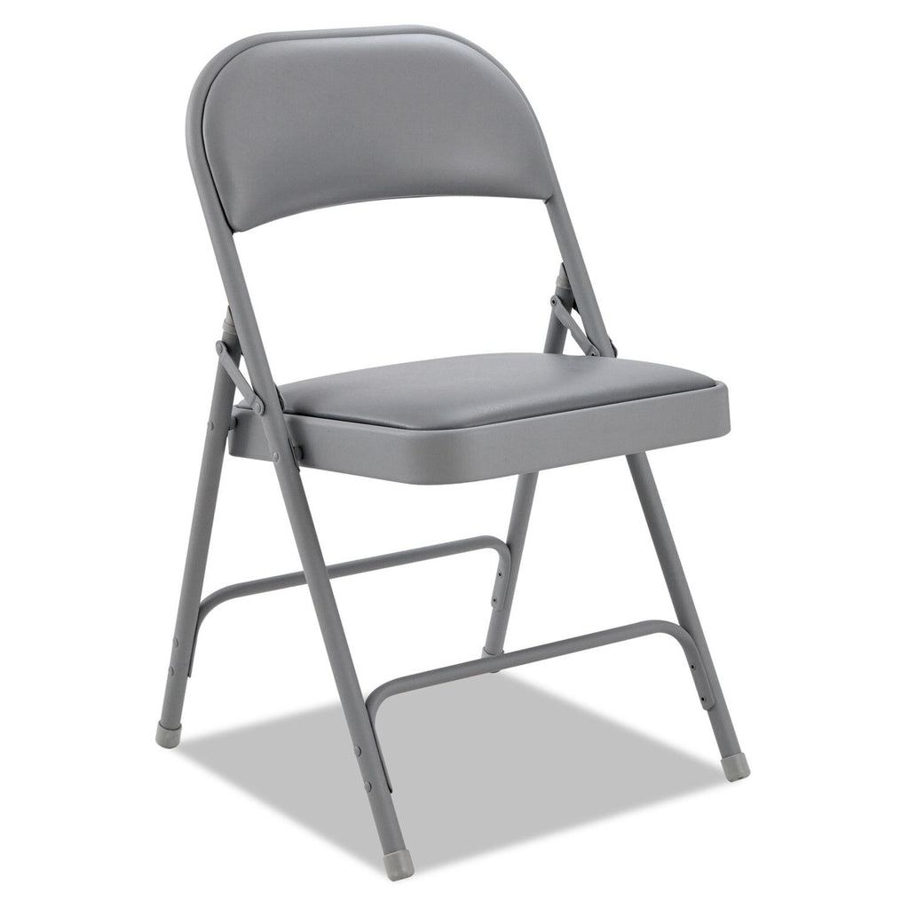 Alera Steel Folding Chair with Padded Back and Seat, Light Gray - 4 pack