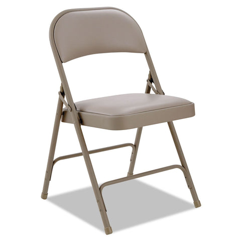 Alera Steel Folding Chair with Padded Back and Seat, Tan - 4 pack