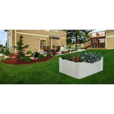 4 x 4 White Vinyl Raised Garden with Grow Grid