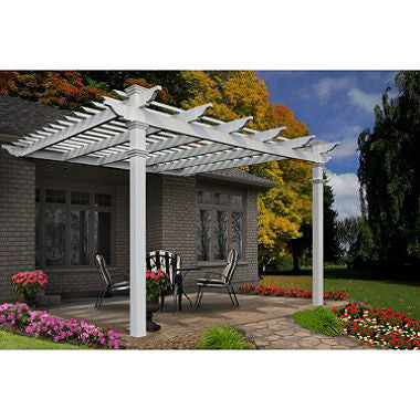 Atrium 12' x 12' White Vinyl Attached Pergola with Tall Base Moldings
