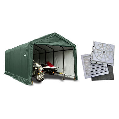 12 x 30 ft. ShelterTube Shelter with Anchor Kit and Auto Vent Kit - Green