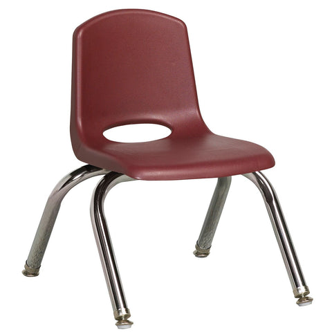 "ECR4Kids 10"" Stack Chair with Chrome Legs & Swivel Glides, Burgundy - 6 pack"