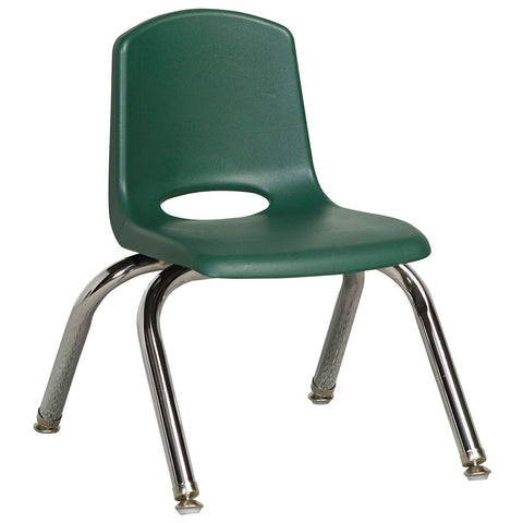 "ECR4Kids 10"" Stack Chair with Chrome Legs & Swivel Glides, Hunter Green - 6 pack"
