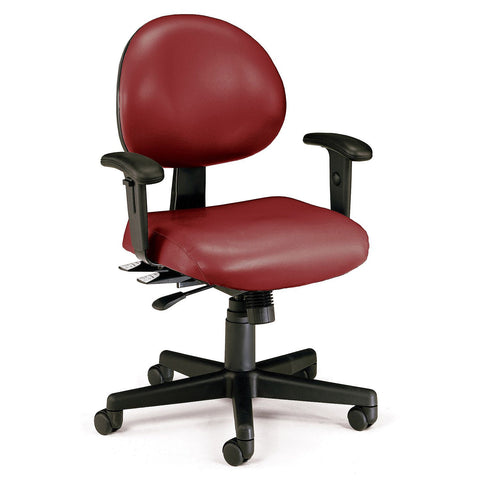 24-Hour Anti-Microbial Vinyl Computer Task Chair with Arms - Wine