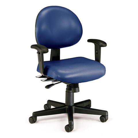 24-Hour Anti-Microbial Vinyl Computer Task Chair with Arms - Navy