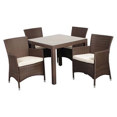 Andana Deluxe Square Brown Synthetic Wicker Patio Dining Set with Off-White Cushions (5 pcs.)