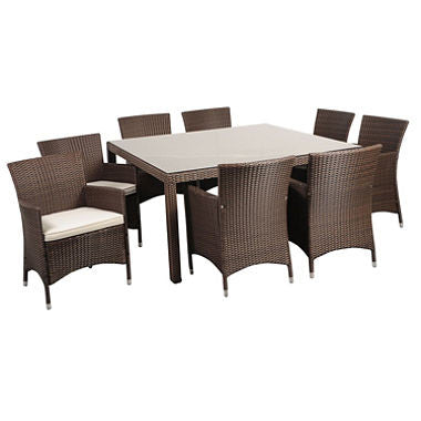 Andana Deluxe Square Brown Synthetic Wicker Patio Dining Set with Off-White Cushions (9 pcs.)
