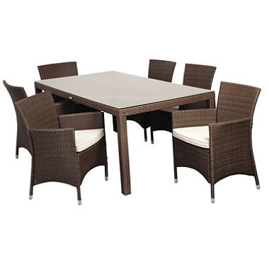 Andana Deluxe Rectangular Brown Synthetic Wicker Patio Dining Set with Off-White Cushions (7 pcs.)