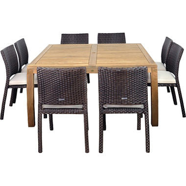 Almeria Teak/Wicker Square Patio Dining Set with Off-White Cushions (9 pcs.)